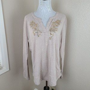 Anthropologie-Embroidered Henley Top L